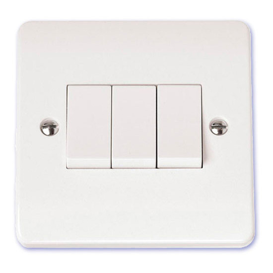 Buy Scolmore Click Mode 10 Amp 3 Gang Triple 2 Way Switch White ...